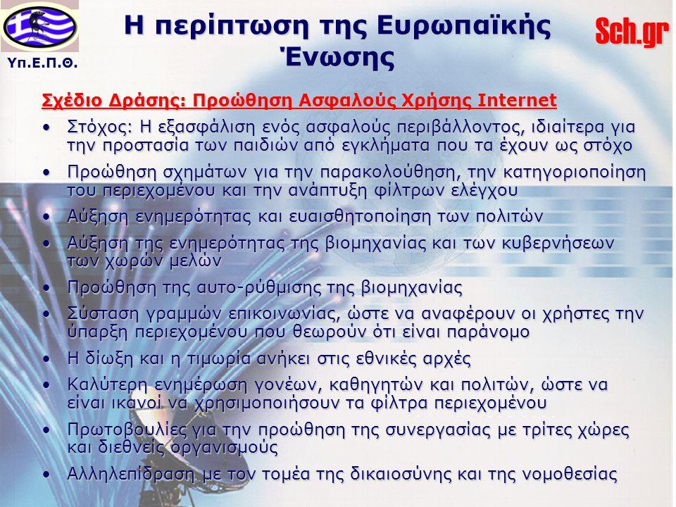 Υπ.Ε.Π.Θ.Sch.gr Η περίπτωση της Ευρωπαϊκής Ένωσης Σχέδιο Δράσης: Προώθηση Ασφαλούς Χρήσης Internet Στόχος: Η εξασφάλιση ενός ασφαλούς περιβάλλοντος, ιδιαίτερα για την προστασία των παιδιών από εγκλήματα που τα έχουν ως στόχοΣτόχος: Η εξασφάλιση ενός ασφαλούς περιβάλλοντος, ιδιαίτερα για την προστασία των παιδιών από εγκλήματα που τα έχουν ως στόχο Προώθηση σχημάτων για την παρακολούθηση, την κατηγοριοποίηση του περιεχομένου και την ανάπτυξη φίλτρων ελέγχουΠροώθηση σχημάτων για την παρακολούθηση, την κατηγοριοποίηση του περιεχομένου και την ανάπτυξη φίλτρων ελέγχου Αύξηση ενημερότητας και ευαισθητοποίηση των πολιτώνΑύξηση ενημερότητας και ευαισθητοποίηση των πολιτών Αύξηση της ενημερότητας της βιομηχανίας και των κυβερνήσεων των χωρών μελώνΑύξηση της ενημερότητας της βιομηχανίας και των κυβερνήσεων των χωρών μελών Προώθηση της αυτο-ρύθμισης της βιομηχανίαςΠροώθηση της αυτο-ρύθμισης της βιομηχανίας Σύσταση γραμμών επικοινωνίας, ώστε να αναφέρουν οι χρήστες την ύπαρξη περιεχομένου που θεωρούν ότι είναι παράνομοΣύσταση γραμμών επικοινωνίας, ώστε να αναφέρουν οι χρήστες την ύπαρξη περιεχομένου που θεωρούν ότι είναι παράνομο Η δίωξη και η τιμωρία ανήκει στις εθνικές αρχέςΗ δίωξη και η τιμωρία ανήκει στις εθνικές αρχές Καλύτερη ενημέρωση γονέων, καθηγητών και πολιτών, ώστε να είναι ικανοί να χρησιμοποιήσουν τα φίλτρα περιεχομένουΚαλύτερη ενημέρωση γονέων, καθηγητών και πολιτών, ώστε να είναι ικανοί να χρησιμοποιήσουν τα φίλτρα περιεχομένου Πρωτοβουλίες για την προώθηση της συνεργασίας με τρίτες χώρες και διεθνείς οργανισμούςΠρωτοβουλίες για την προώθηση της συνεργασίας με τρίτες χώρες και διεθνείς οργανισμούς Αλληλεπίδραση με τον τομέα της δικαιοσύνης και της νομοθεσίαςΑλληλεπίδραση με τον τομέα της δικαιοσύνης και της νομοθεσίας