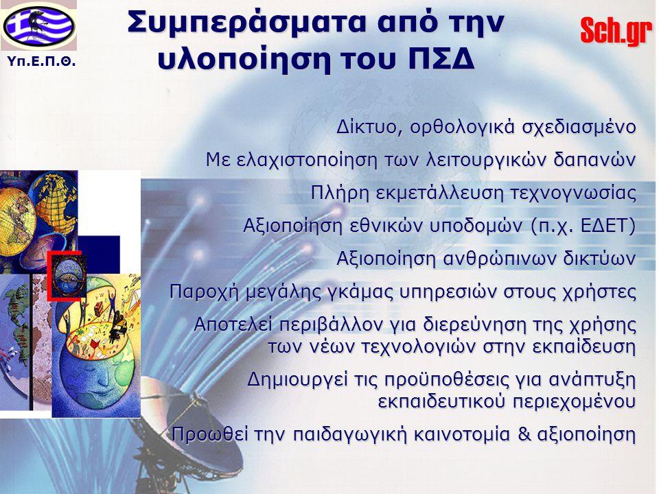 Υπ.Ε.Π.Θ.Sch.gr Συμπεράσματα από την υλοποίηση του ΠΣΔ Δίκτυο, ορθολογικά σχεδιασμένο Με ελαχιστοποίηση των λειτουργικών δαπανών Πλήρη εκμετάλλευση τεχνογνωσίας Αξιοποίηση εθνικών υποδομών (π.χ.