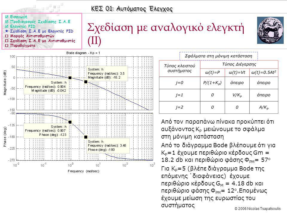 ΚΕΣ 01: Αυτόματος Έλεγχος © 2006 Nicolas Tsapatsoulis Σχεδίαση με αναλογικό ελεγκτή (II)  Εισαγωγή  Προδιαγραφές Σχεδίασης Σ.Α.Ε  Ελεγκτές PID  Σχεδίαση Σ.Α.Ε με Ελεγκτές PID  Μορφές Αντισταθμιστών  Σχεδίαση Σ.Α.Ε με Αντισταθμιστές  Παραδείγματα ◊Από τον παραπάνω πίνακα προκύπτει ότι αυξάνοντας K P μειώνουμε το σφάλμα στη μόνιμη κατάσταση ◊Από το διάγραμμα Bode βλέπουμε ότι για K P =1 έχουμε περιθώριο κέρδους Gm = 18.2 db και περιθώριο φάσης Φ PM = 57 o ◊Για K P =5 (βλέπε διάγραμμα Bode της επόμενης ΄διαφάνειας) έχουμε περιθώριο κέρδους G M = 4.18 db και περιθώριο φάσης Φ PM = 12 o.Επομένως έχουμε μείωση της ευρωστίας του συστήματος