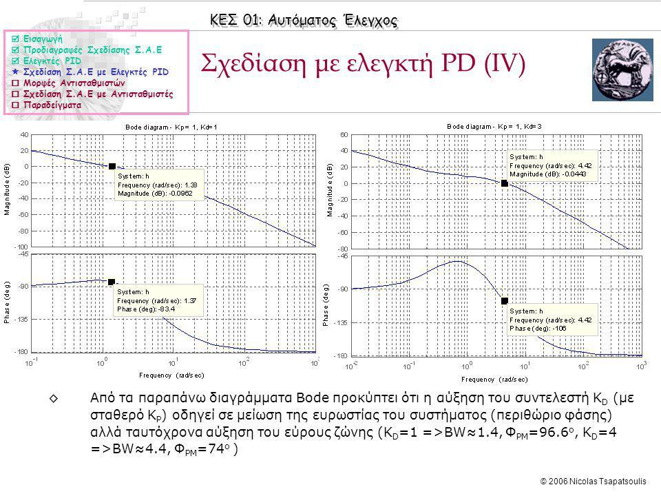 ΚΕΣ 01: Αυτόματος Έλεγχος © 2006 Nicolas Tsapatsoulis Σχεδίαση με ελεγκτή PD (ΙV)  Εισαγωγή  Προδιαγραφές Σχεδίασης Σ.Α.Ε  Ελεγκτές PID  Σχεδίαση Σ.Α.Ε με Ελεγκτές PID  Μορφές Αντισταθμιστών  Σχεδίαση Σ.Α.Ε με Αντισταθμιστές  Παραδείγματα ◊Από τα παραπάνω διαγράμματα Bode προκύπτει ότι η αύξηση του συντελεστή Κ D (με σταθερό Κ P ) οδηγεί σε μείωση της ευρωστίας του συστήματος (περιθώριο φάσης) αλλά ταυτόχρονα αύξηση του εύρους ζώνης (Κ D =1 =>BW≈1.4, Φ PM =96.6 o, Κ D =4 =>BW≈4.4, Φ PM =74 o )
