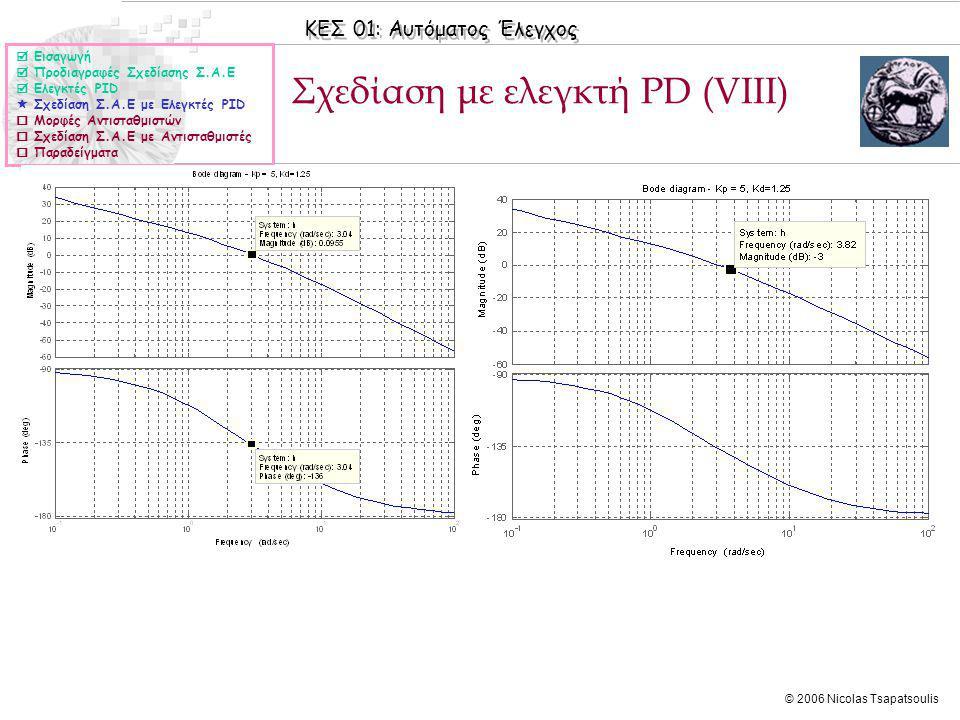 ΚΕΣ 01: Αυτόματος Έλεγχος © 2006 Nicolas Tsapatsoulis Σχεδίαση με ελεγκτή PD (VΙIΙ)  Εισαγωγή  Προδιαγραφές Σχεδίασης Σ.Α.Ε  Ελεγκτές PID  Σχεδίαση Σ.Α.Ε με Ελεγκτές PID  Μορφές Αντισταθμιστών  Σχεδίαση Σ.Α.Ε με Αντισταθμιστές  Παραδείγματα