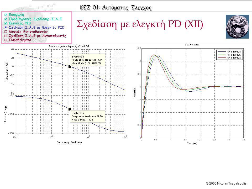 ΚΕΣ 01: Αυτόματος Έλεγχος © 2006 Nicolas Tsapatsoulis Σχεδίαση με ελεγκτή PD (XΙΙ)  Εισαγωγή  Προδιαγραφές Σχεδίασης Σ.Α.Ε  Ελεγκτές PID  Σχεδίαση Σ.Α.Ε με Ελεγκτές PID  Μορφές Αντισταθμιστών  Σχεδίαση Σ.Α.Ε με Αντισταθμιστές  Παραδείγματα