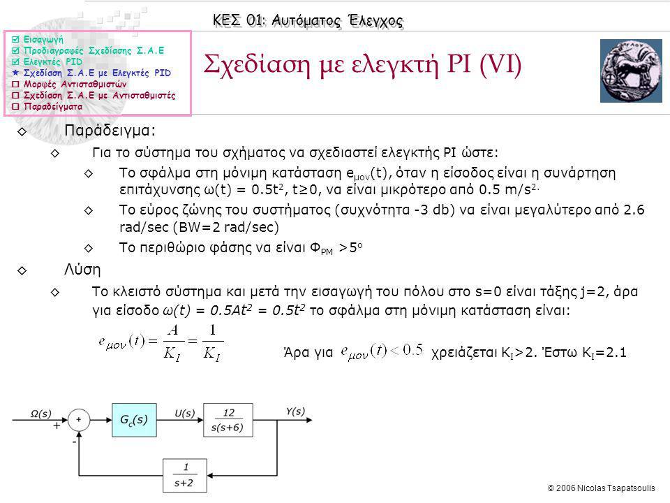 ΚΕΣ 01: Αυτόματος Έλεγχος © 2006 Nicolas Tsapatsoulis Σχεδίαση με ελεγκτή PΙ (VΙ)  Εισαγωγή  Προδιαγραφές Σχεδίασης Σ.Α.Ε  Ελεγκτές PID  Σχεδίαση Σ.Α.Ε με Ελεγκτές PID  Μορφές Αντισταθμιστών  Σχεδίαση Σ.Α.Ε με Αντισταθμιστές  Παραδείγματα ◊Παράδειγμα: ◊Για το σύστημα του σχήματος να σχεδιαστεί ελεγκτής PI ώστε: ◊Το σφάλμα στη μόνιμη κατάσταση e μον (t), όταν η είσοδος είναι η συνάρτηση επιτάχυνσης ω(t) = 0.5t 2, t≥0, να είναι μικρότερo από 0.5 m/s 2.