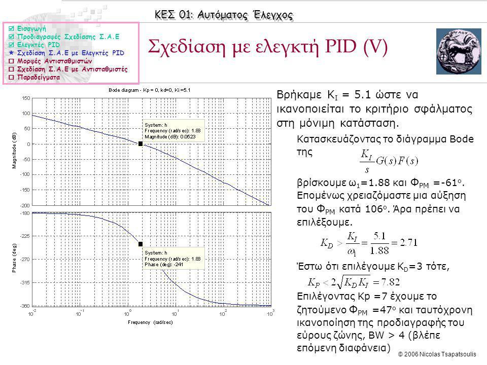ΚΕΣ 01: Αυτόματος Έλεγχος © 2006 Nicolas Tsapatsoulis Σχεδίαση με ελεγκτή PID (V)  Εισαγωγή  Προδιαγραφές Σχεδίασης Σ.Α.Ε  Ελεγκτές PID  Σχεδίαση Σ.Α.Ε με Ελεγκτές PID  Μορφές Αντισταθμιστών  Σχεδίαση Σ.Α.Ε με Αντισταθμιστές  Παραδείγματα ◊Βρήκαμε K I = 5.1 ώστε να ικανοποιείται το κριτήριο σφάλματος στη μόνιμη κατάσταση.