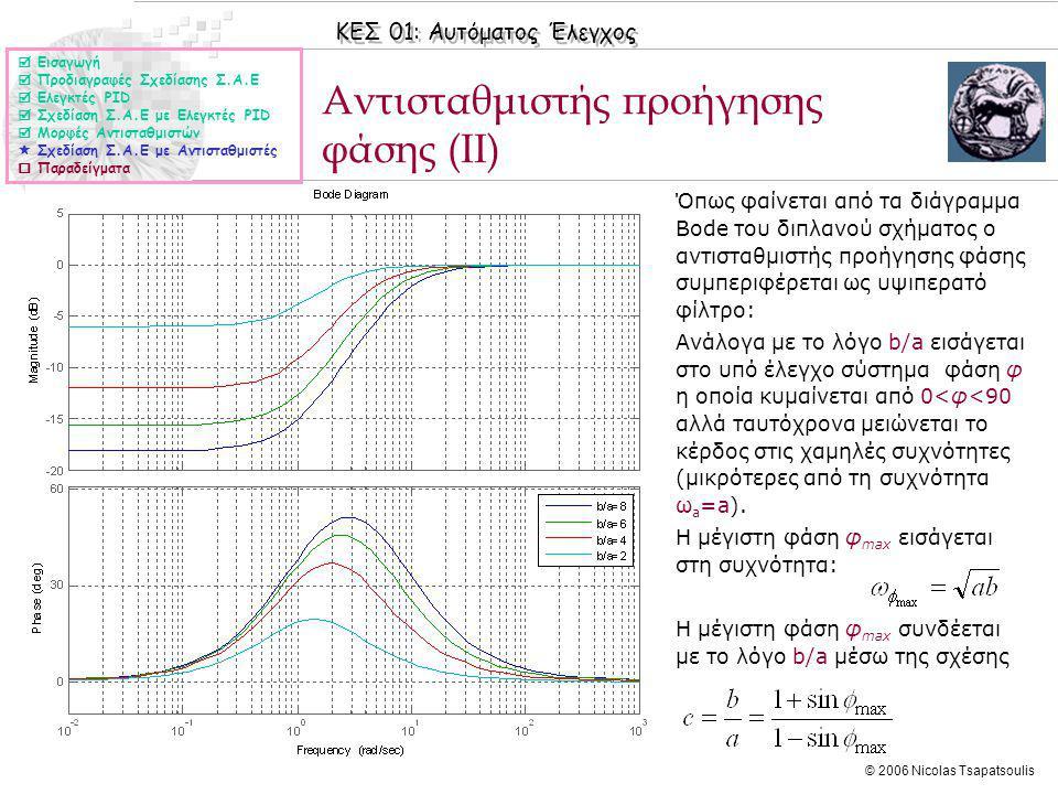 ΚΕΣ 01: Αυτόματος Έλεγχος © 2006 Nicolas Tsapatsoulis Αντισταθμιστής προήγησης φάσης (II)  Εισαγωγή  Προδιαγραφές Σχεδίασης Σ.Α.Ε  Ελεγκτές PID  Σχεδίαση Σ.Α.Ε με Ελεγκτές PID  Μορφές Αντισταθμιστών  Σχεδίαση Σ.Α.Ε με Αντισταθμιστές  Παραδείγματα ◊Όπως φαίνεται από τα διάγραμμα Bode του διπλανού σχήματος ο αντισταθμιστής προήγησης φάσης συμπεριφέρεται ως υψιπερατό φίλτρο: ◊Ανάλογα με το λόγο b/a εισάγεται στο υπό έλεγχο σύστημα φάση φ η οποία κυμαίνεται από 0<φ<90 αλλά ταυτόχρονα μειώνεται το κέρδος στις χαμηλές συχνότητες (μικρότερες από τη συχνότητα ω a =a).