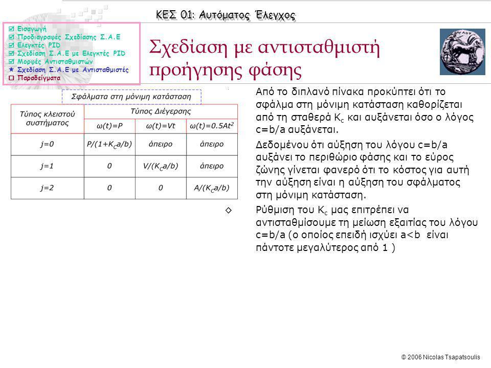 ΚΕΣ 01: Αυτόματος Έλεγχος © 2006 Nicolas Tsapatsoulis Σχεδίαση με αντισταθμιστή προήγησης φάσης ◊Από το διπλανό πίνακα προκύπτει ότι το σφάλμα στη μόνιμη κατάσταση καθορίζεται από τη σταθερά K c και αυξάνεται όσο ο λόγος c=b/a αυξάνεται.