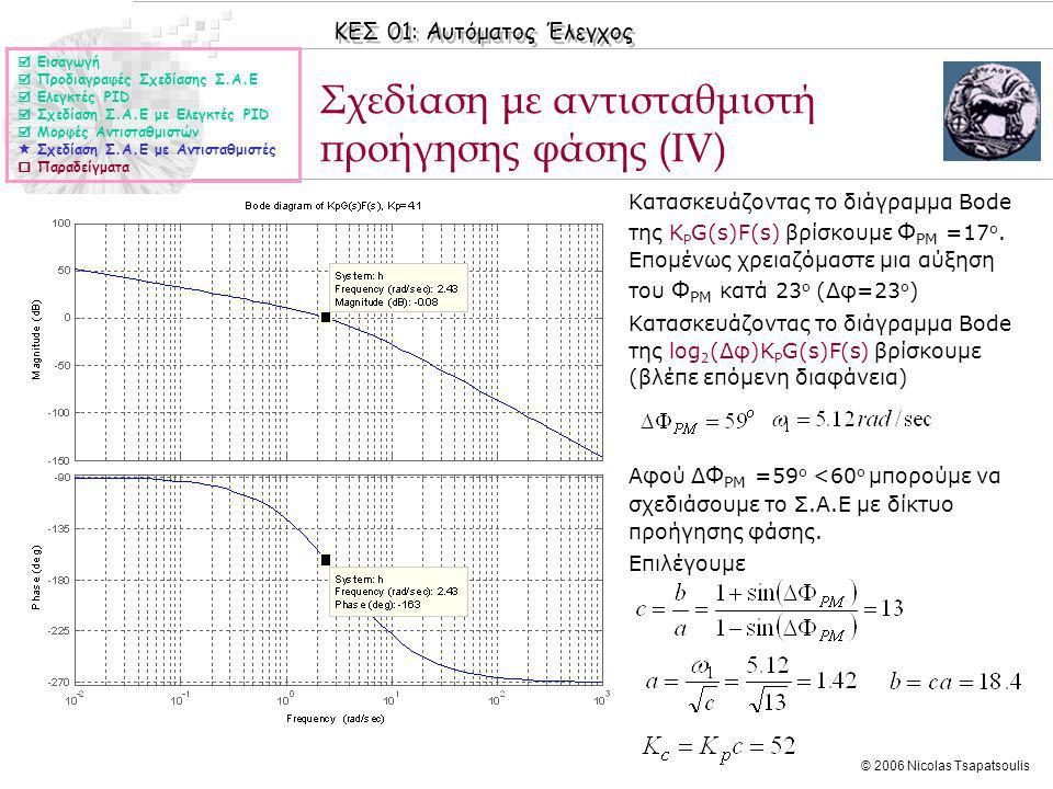 ΚΕΣ 01: Αυτόματος Έλεγχος © 2006 Nicolas Tsapatsoulis Σχεδίαση με αντισταθμιστή προήγησης φάσης (ΙV) ◊Κατασκευάζοντας το διάγραμμα Bode της K P G(s)F(s) βρίσκουμε Φ PM =17 ο.