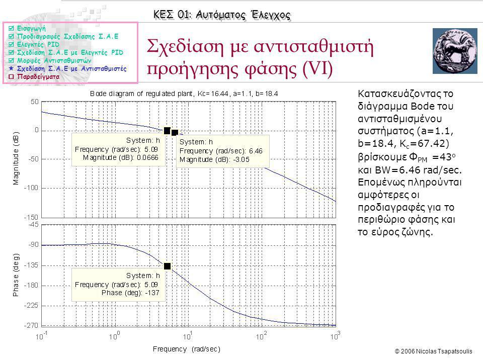 ΚΕΣ 01: Αυτόματος Έλεγχος © 2006 Nicolas Tsapatsoulis Σχεδίαση με αντισταθμιστή προήγησης φάσης (VI) ◊Κατασκευάζοντας το διάγραμμα Bode του αντισταθμισμένου συστήματος (a=1.1, b=18.4, K c =67.42) βρίσκουμε Φ PM =43 ο και BW=6.46 rad/sec.
