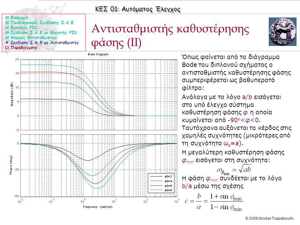 ΚΕΣ 01: Αυτόματος Έλεγχος © 2006 Nicolas Tsapatsoulis Αντισταθμιστής καθυστέρησης φάσης (II)  Εισαγωγή  Προδιαγραφές Σχεδίασης Σ.Α.Ε  Ελεγκτές PID  Σχεδίαση Σ.Α.Ε με Ελεγκτές PID  Μορφές Αντισταθμιστών  Σχεδίαση Σ.Α.Ε με Αντισταθμιστές  Παραδείγματα ◊Όπως φαίνεται από τα διάγραμμα Bode του διπλανού σχήματος ο αντισταθμιστής καθυστέρησης φάσης συμπεριφέρεται ως βαθυπερατό φίλτρο: ◊Ανάλογα με το λόγο a/b εισάγεται στο υπό έλεγχο σύστημα καθυστέρηση φάσης φ η οποία κυμαίνεται από -90 ο <φ<0.