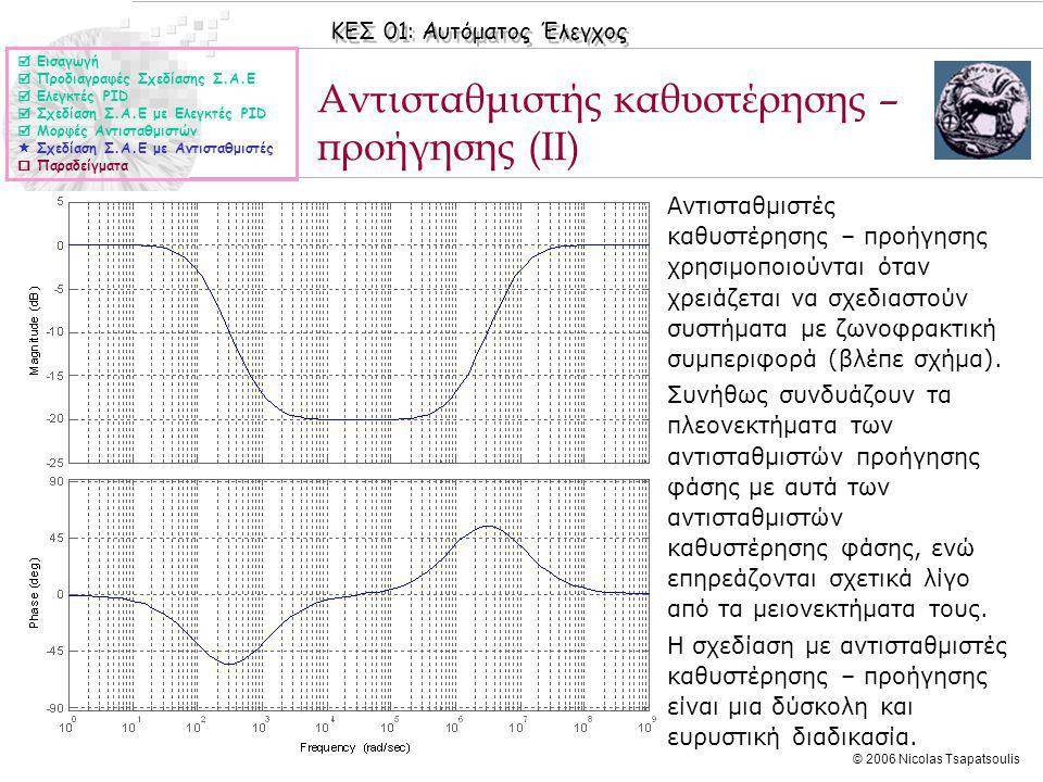 ΚΕΣ 01: Αυτόματος Έλεγχος © 2006 Nicolas Tsapatsoulis Αντισταθμιστής καθυστέρησης – προήγησης (II)  Εισαγωγή  Προδιαγραφές Σχεδίασης Σ.Α.Ε  Ελεγκτές PID  Σχεδίαση Σ.Α.Ε με Ελεγκτές PID  Μορφές Αντισταθμιστών  Σχεδίαση Σ.Α.Ε με Αντισταθμιστές  Παραδείγματα ◊Αντισταθμιστές καθυστέρησης – προήγησης χρησιμοποιούνται όταν χρειάζεται να σχεδιαστούν συστήματα με ζωνοφρακτική συμπεριφορά (βλέπε σχήμα).