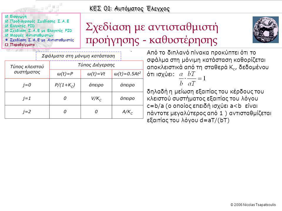 ΚΕΣ 01: Αυτόματος Έλεγχος © 2006 Nicolas Tsapatsoulis Σχεδίαση με αντισταθμιστή προήγησης - καθυστέρησης ◊Από το διπλανό πίνακα προκύπτει ότι το σφάλμα στη μόνιμη κατάσταση καθορίζεται αποκλειστικά από τη σταθερά K c, δεδομένου ότι ισχύει: ◊δηλαδή η μείωση εξαιτίας του κέρδους του κλειστού συστήματος εξαιτίας του λόγου c=b/a (ο οποίος επειδή ισχύει a<b είναι πάντοτε μεγαλύτερος από 1 ) αντισταθμίζεται εξαιτίας του λόγου d=aΤ/(bT)  Εισαγωγή  Προδιαγραφές Σχεδίασης Σ.Α.Ε  Ελεγκτές PID  Σχεδίαση Σ.Α.Ε με Ελεγκτές PID  Μορφές Αντισταθμιστών  Σχεδίαση Σ.Α.Ε με Αντισταθμιστές  Παραδείγματα