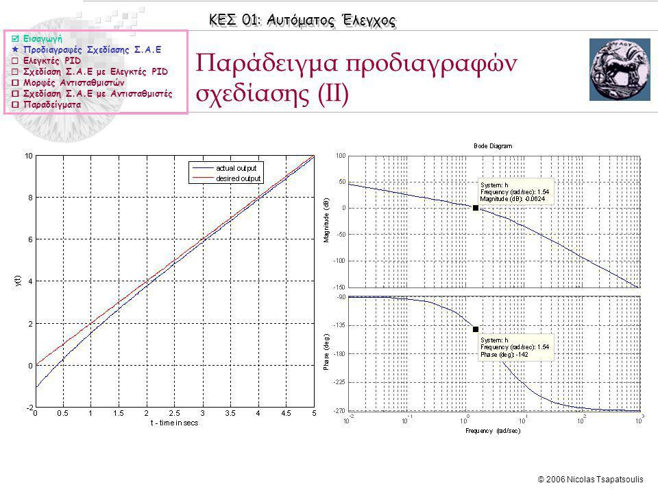 ΚΕΣ 01: Αυτόματος Έλεγχος © 2006 Nicolas Tsapatsoulis Ελεγκτές PID ◊Για διευκόλυνση της διαδικασίας σχεδίασης στις περισσότερες περιπτώσεις χρησιμοποιούνται ειδικές δομές για τους αντισταθμιστές και αυτό που αναζητείται είναι η εύρεση των τιμών των παραμέτρων τους ώστε να ικανοποιούνται οι προδιαγραφές σχεδίασης ◊Οι ελεγκτές PID (Proportional – Integrator – Differentiator) έχουν τη μορφή: και το ζητούμενο είναι η εύρεση των παραμέτρων K P, K I, K D, με βάση τις προδιαγραφές σχεδίασης.