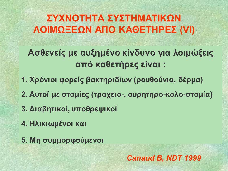 ΣΥΧΝΟΤΗΤΑ ΣΥΣΤΗΜΑΤΙΚΩΝ ΛΟΙΜΩΞΕΩΝ ΑΠΟ ΚΑΘΕΤΗΡΕΣ (VΙ) Canaud B, NDT 1999 Ασθενείς με αυξημένο κίνδυνο για λοιμώξεις από καθετήρες είναι : 1. Χρόνιοι φορ