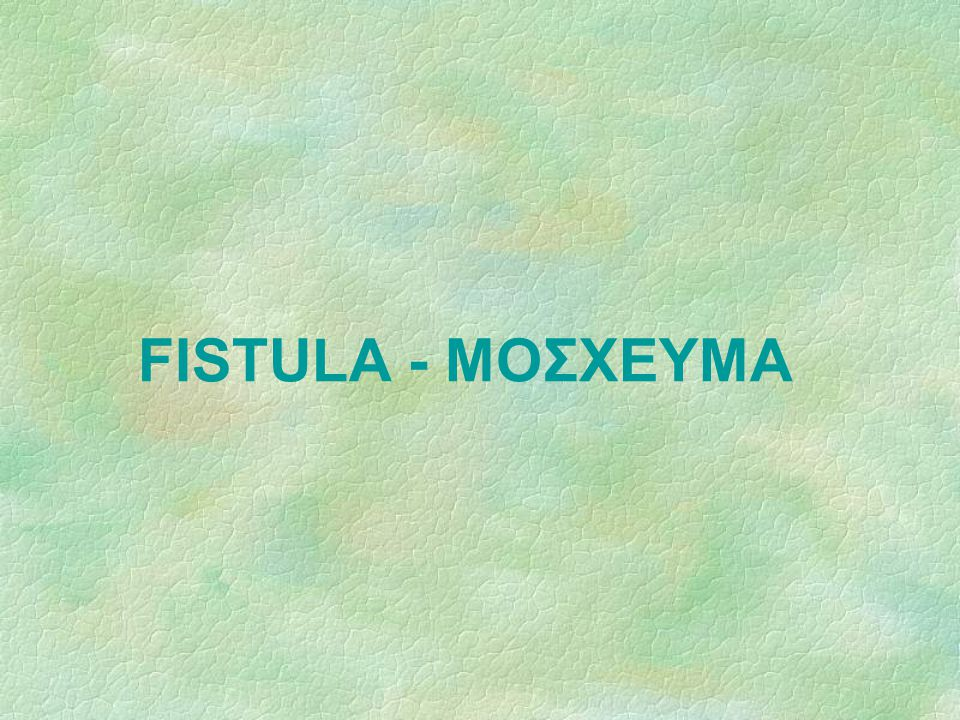 FISTULA - ΜΟΣΧΕΥΜΑ