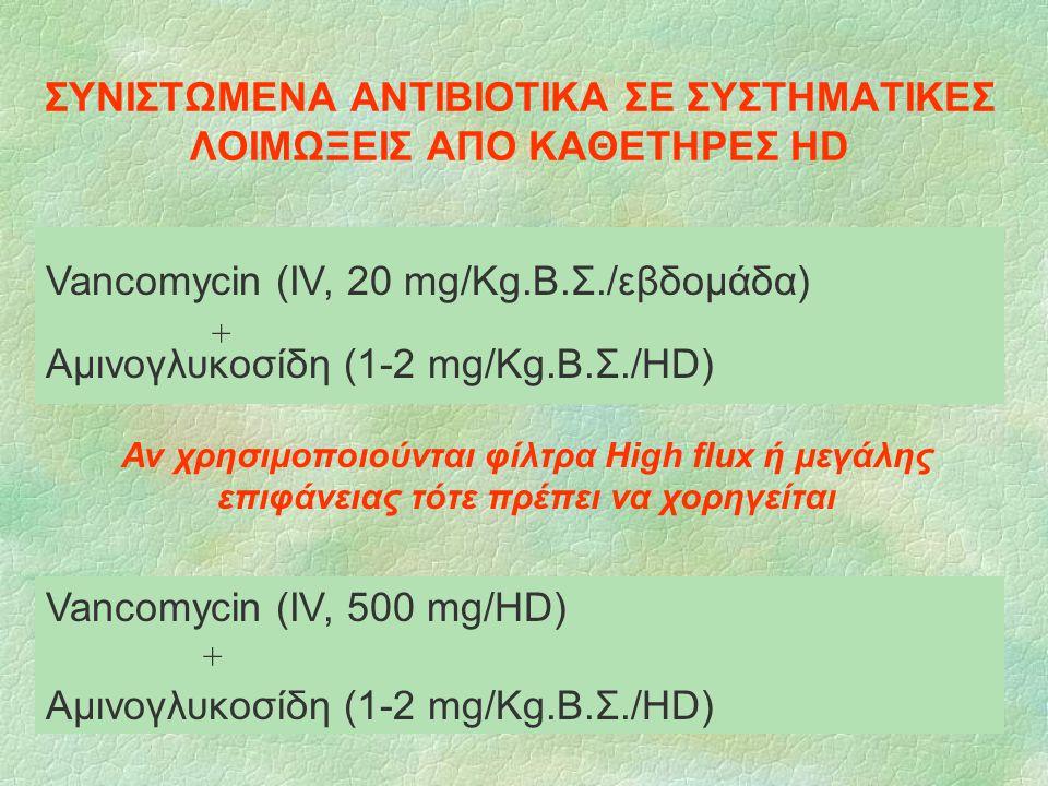ΣΥΝΙΣΤΩΜΕΝΑ ΑΝΤΙΒΙΟΤΙΚΑ ΣΕ ΣΥΣΤΗΜΑΤΙΚΕΣ ΛΟΙΜΩΞΕΙΣ ΑΠO ΚΑΘΕΤΗΡΕΣ HD Vancomycin (IV, 500 mg/HD) Αμινογλυκοσίδη (1-2 mg/Kg.Β.Σ./HD) Αν χρησιμοποιούνται φ