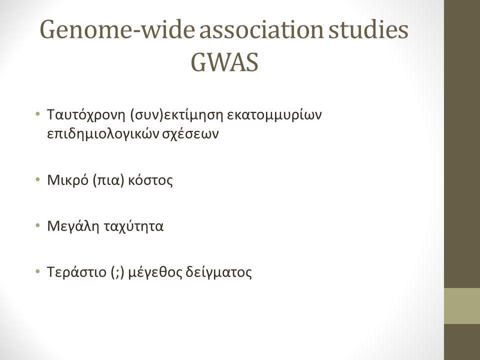 Ταυτόχρονη (συν)εκτίμηση εκατομμυρίων επιδημιολογικών σχέσεων Μικρό (πια) κόστος Μεγάλη ταχύτητα Τεράστιο (;) μέγεθος δείγματος Genome-wide association studies GWAS