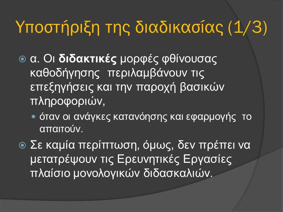 Υποστήριξη της διαδικασίας (1/3)  α. Οι διδακτικές μορφές φθίνουσας καθοδήγησης περιλαμβάνουν τις επεξηγήσεις και την παροχή βασικών πληροφοριών, ότα