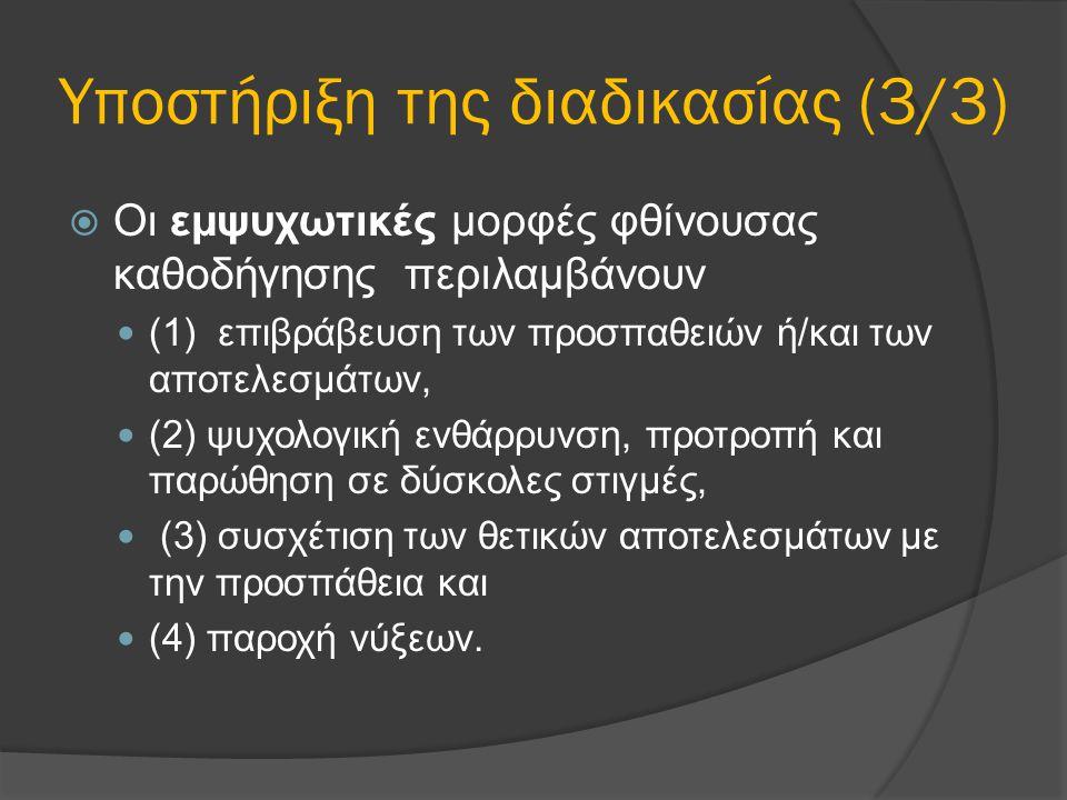 Υποστήριξη της διαδικασίας (3/3)  Οι εμψυχωτικές μορφές φθίνουσας καθοδήγησης περιλαμβάνουν (1) επιβράβευση των προσπαθειών ή/και των αποτελεσμάτων, (2) ψυχολογική ενθάρρυνση, προτροπή και παρώθηση σε δύσκολες στιγμές, (3) συσχέτιση των θετικών αποτελεσμάτων με την προσπάθεια και (4) παροχή νύξεων.