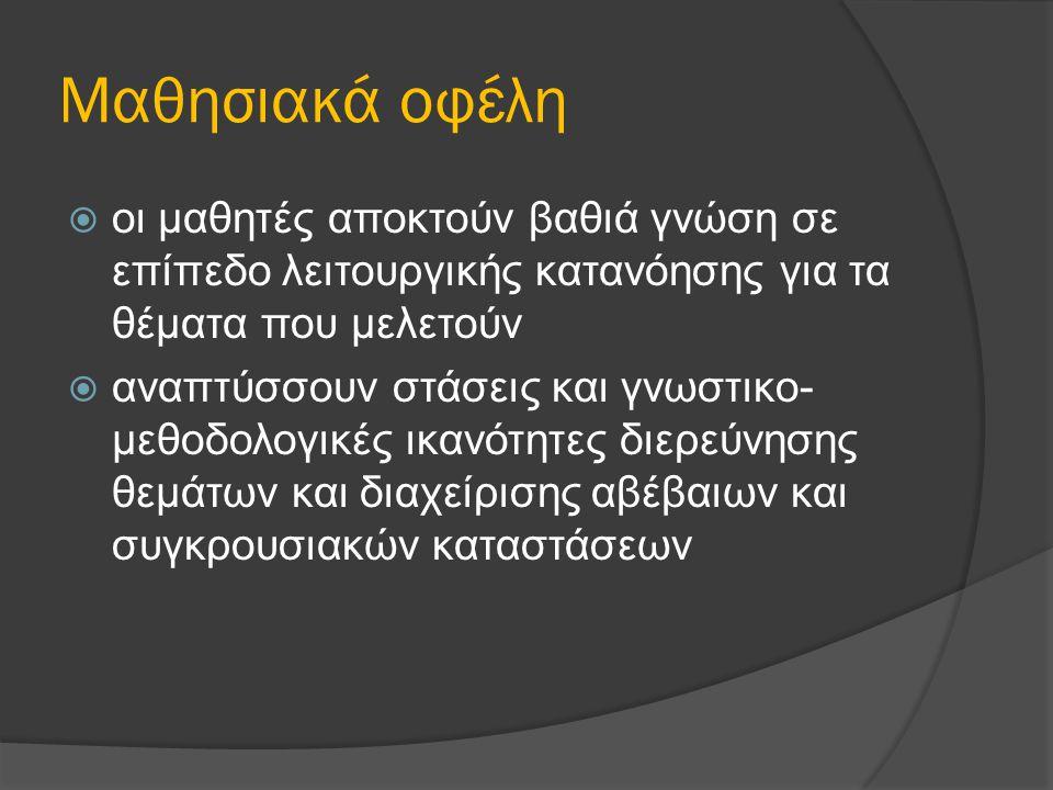 Ο κύκλος της διερευνητικής μάθησης  Promoting Student Inquiry: WebQuests to Web Inquiry Projects (WIPs)  http://webinquiry.org/WIP_Intro.htm http://webinquiry.org/WIP_Intro.htm