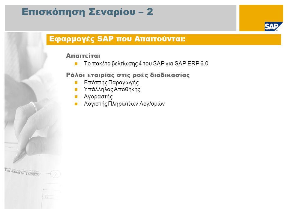 Επισκόπηση Σεναρίου – 2 Απαιτείται Το πακέτο βελτίωσης 4 του SAP για SAP ERP 6.0 Ρόλοι εταιρίας στις ροές διαδικασίας Επόπτης Παραγωγής Υπάλληλος Αποθ