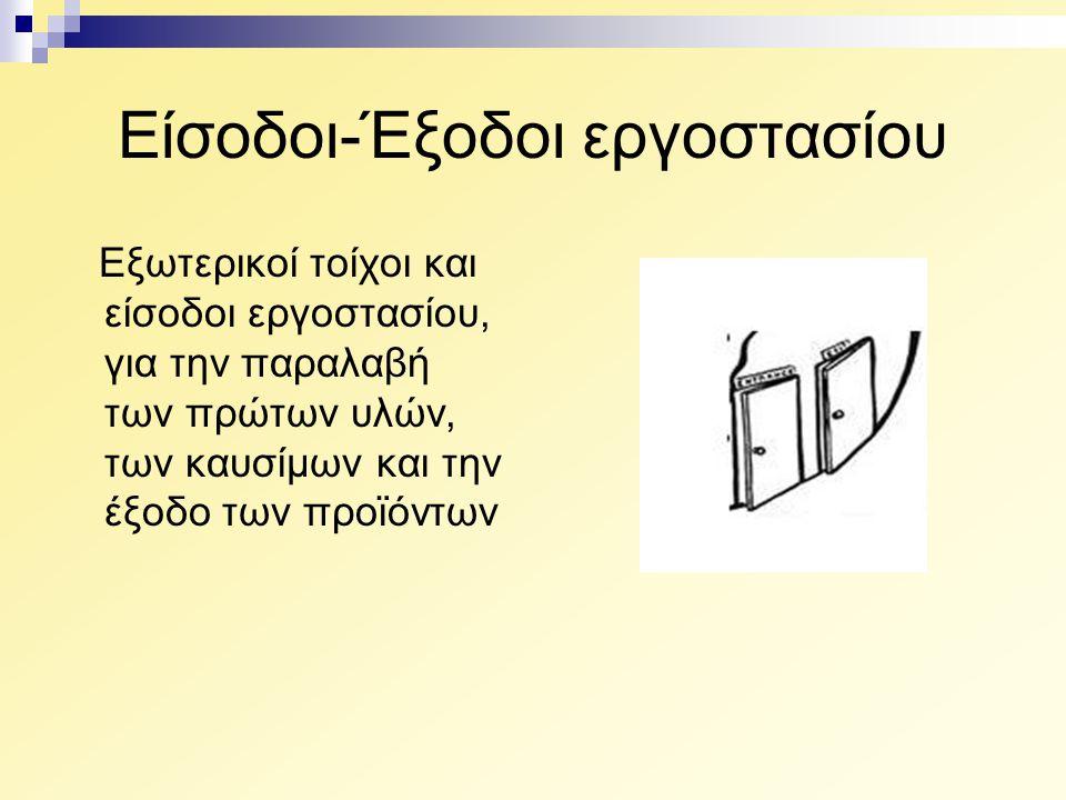 Είσοδοι-Έξοδοι εργοστασίου Εξωτερικοί τοίχοι και είσοδοι εργοστασίου, για την παραλαβή των πρώτων υλών, των καυσίμων και την έξοδο των προϊόντων
