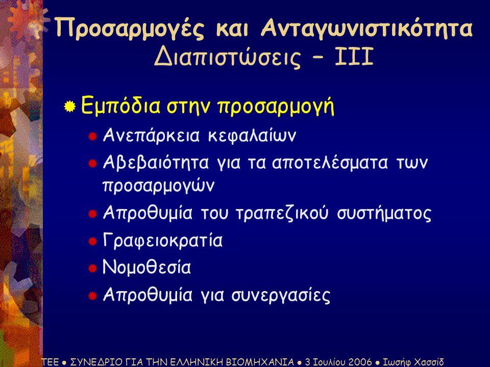 ΤΕΕ ● ΣΥΝΕΔΡΙΟ ΓΙΑ ΤΗΝ ΕΛΛΗΝΙΚΗ ΒΙΟΜΗΧΑΝΙΑ ● 3 Ιουλίου 2006 ● Ιωσήφ Χασσίδ  Εμπόδια στην προσαρμογή  Ανεπάρκεια κεφαλαίων  Αβεβαιότητα για τα αποτελέσματα των προσαρμογών  Απροθυμία του τραπεζικού συστήματος  Γραφειοκρατία  Νομοθεσία  Απροθυμία για συνεργασίες Προσαρμογές και Ανταγωνιστικότητα Διαπιστώσεις – ΙΙΙ