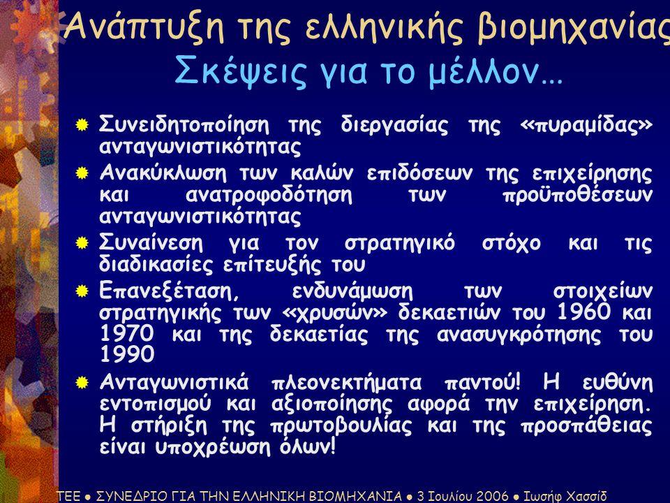 ΤΕΕ ● ΣΥΝΕΔΡΙΟ ΓΙΑ ΤΗΝ ΕΛΛΗΝΙΚΗ ΒΙΟΜΗΧΑΝΙΑ ● 3 Ιουλίου 2006 ● Ιωσήφ Χασσίδ Ανάπτυξη της ελληνικής βιομηχανίας Σκέψεις για το μέλλον…  Συνειδητοποίηση της διεργασίας της «πυραμίδας» ανταγωνιστικότητας  Ανακύκλωση των καλών επιδόσεων της επιχείρησης και ανατροφοδότηση των προϋποθέσεων ανταγωνιστικότητας  Συναίνεση για τον στρατηγικό στόχο και τις διαδικασίες επίτευξής του  Επανεξέταση, ενδυνάμωση των στοιχείων στρατηγικής των «χρυσών» δεκαετιών του 1960 και 1970 και της δεκαετίας της ανασυγκρότησης του 1990  Ανταγωνιστικά πλεονεκτήματα παντού.