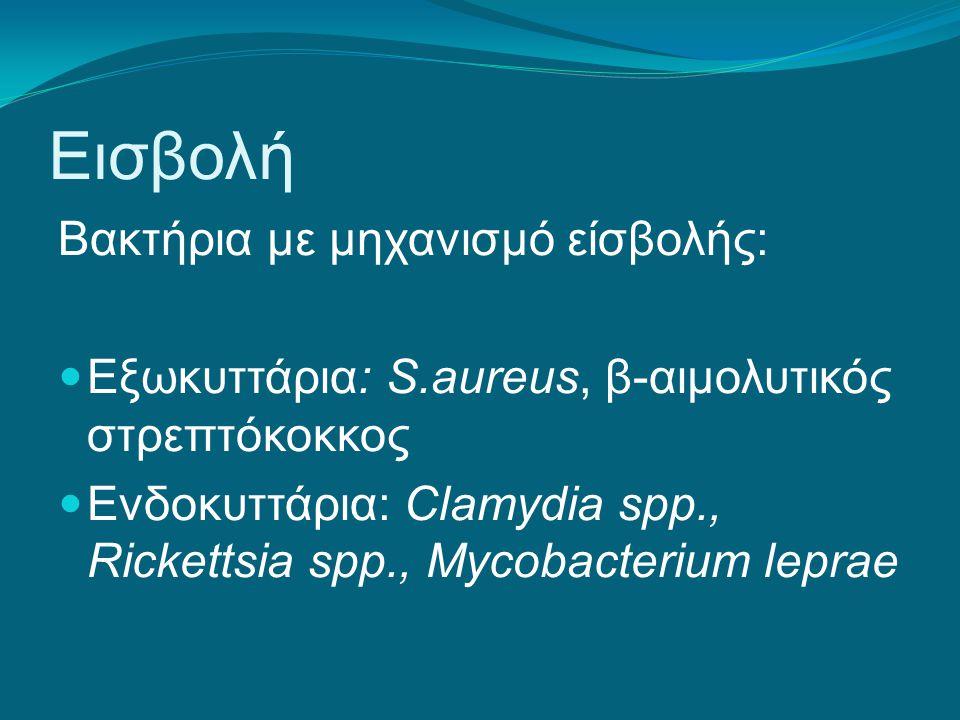 Εισβολή Βακτήρια με μηχανισμό είσβολής: Εξωκυττάρια: S.aureus, β-αιμολυτικός στρεπτόκοκκος Ενδοκυττάρια: Clamydia spp., Rickettsia spp., Mycobacterium