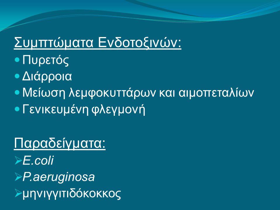 Συμπτώματα Ενδοτοξινών: Πυρετός Διάρροια Μείωση λεμφοκυττάρων και αιμοπεταλίων Γενικευμένη φλεγμονή Παραδείγματα:  E.coli  P.aeruginosa  μηνιγγιτιδόκοκκος