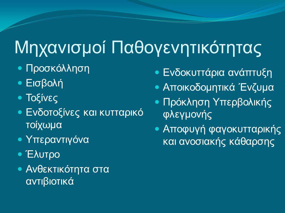 Προσκολλητίνες Επιφάνειες προσκόλλησης:  Δέρμα  Βλεννογόνοι (στοματική κοιλότητα, ρινοφάρυγγας)  Ιστοί (λεμφικός, ενδοθηλιακός)  Επιθήλια (γαστρικό, εντερικό)