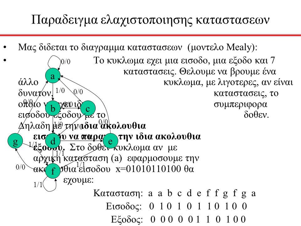 Παραδειγμα ελαχιστοποιησης καταστασεων Μας διδεται το διαγραμμα καταστασεων (μοντελο Mealy): Το κυκλωμα εχει μια εισοδο, μια εξοδο και 7 καταστασεις.