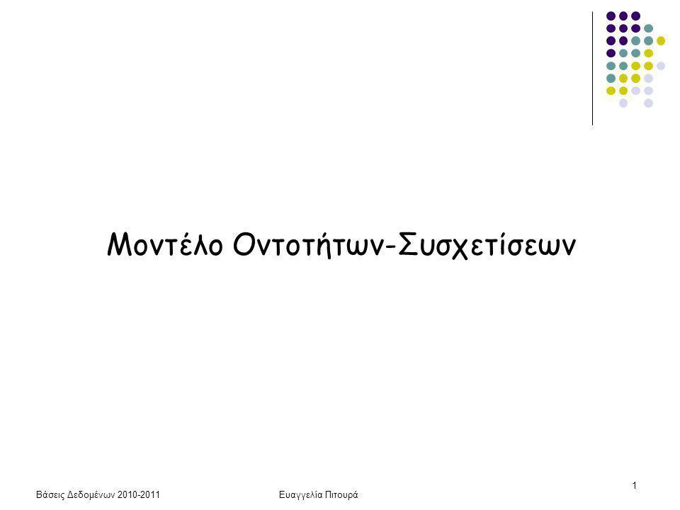 Βάσεις Δεδομένων 2010-2011Ευαγγελία Πιτουρά 1 Μοντέλο Οντοτήτων-Συσχετίσεων