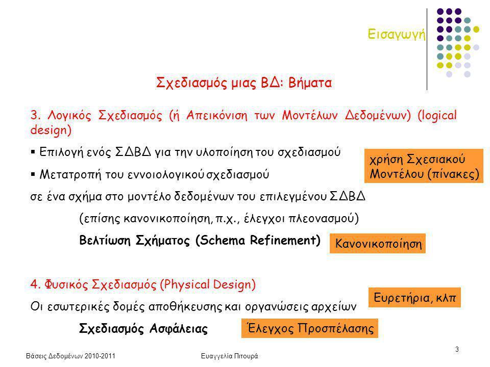 Βάσεις Δεδομένων 2010-2011Ευαγγελία Πιτουρά 34 Μοντέλο Οντοτήτων-Συσχετίσεων (ανακεφαλαίωση) Οντότητες, Συσχετίσεις, Γνωρίσματα (πεδία ορισμού) Κλειδί οντότητας Βαθμός Συσχέτισης: πόσοι τύποι οντοτήτων (συνήθως δυαδικές) Πληθικότητα Συσχέτισης: πόσες φορές μια οντότητα εμφανίζεται (το πολύ) στη συσχέτιση (για δυαδικές: 1:1, 1:Ν, Ν:Μ) Συμμετοχή σε Συσχέτιση: ολική ή μερική