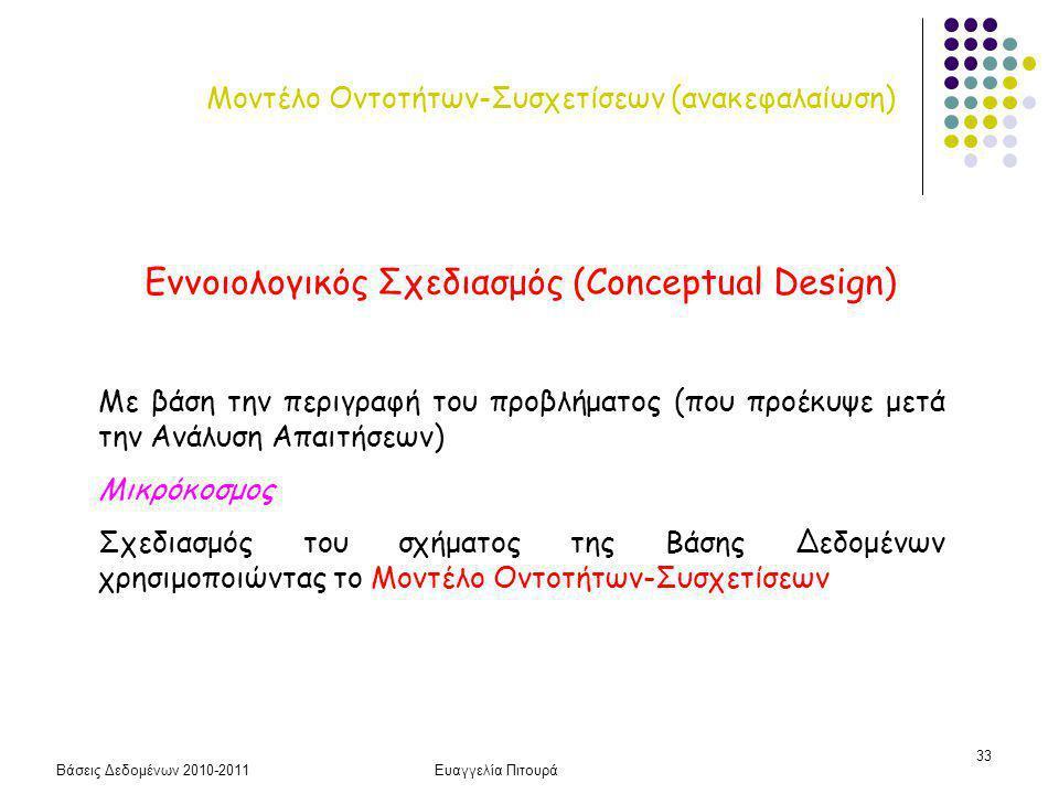 Βάσεις Δεδομένων 2010-2011Ευαγγελία Πιτουρά 33 Μοντέλο Οντοτήτων-Συσχετίσεων (ανακεφαλαίωση) Εννοιoλογικός Σχεδιασμός (Conceptual Design) Με βάση την περιγραφή του προβλήματος (που προέκυψε μετά την Ανάλυση Απαιτήσεων) Μικρόκοσμος Σχεδιασμός του σχήματος της Βάσης Δεδομένων χρησιμοποιώντας το Μοντέλο Οντοτήτων-Συσχετίσεων