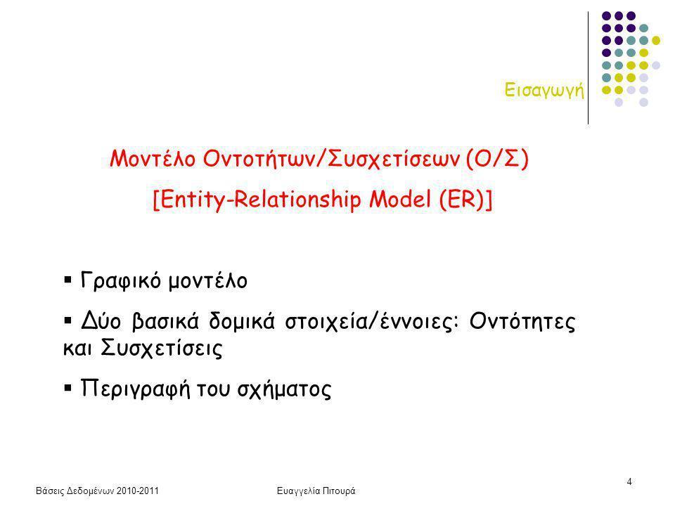 Βάσεις Δεδομένων 2010-2011Ευαγγελία Πιτουρά 4 Εισαγωγή Μοντέλο Οντοτήτων/Συσχετίσεων (Ο/Σ) [Entity-Relationship Model (ER)]  Γραφικό μοντέλο  Δύο βασικά δομικά στοιχεία/έννοιες: Οντότητες και Συσχετίσεις  Περιγραφή του σχήματος