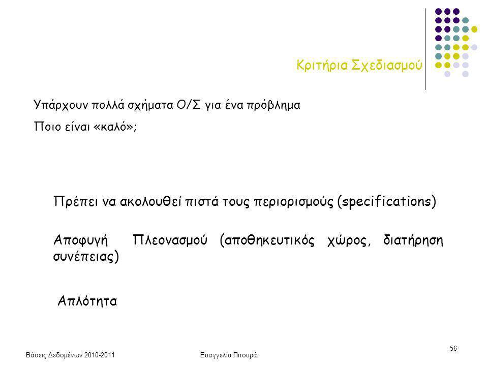 Βάσεις Δεδομένων 2010-2011Ευαγγελία Πιτουρά 56 Κριτήρια Σχεδιασμού Πρέπει να ακολουθεί πιστά τους περιορισμούς (specifications) Αποφυγή Πλεονασμού (αποθηκευτικός χώρος, διατήρηση συνέπειας) Απλότητα Υπάρχουν πολλά σχήματα Ο/Σ για ένα πρόβλημα Ποιο είναι «καλό»;