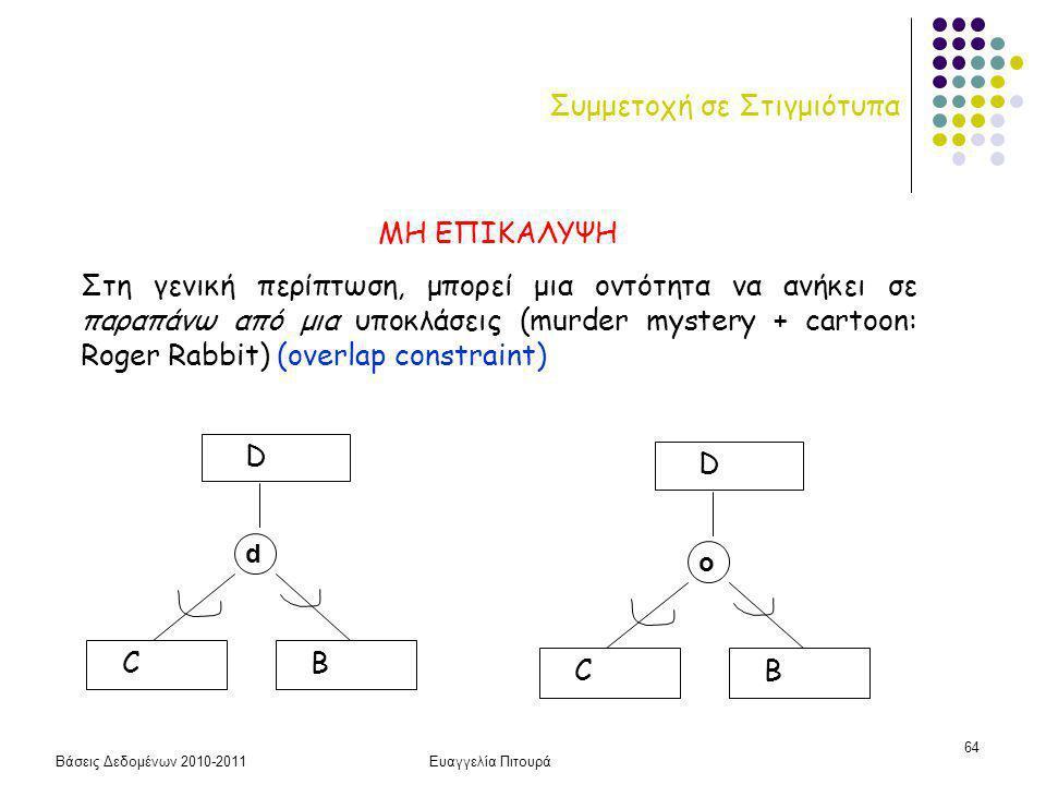 Βάσεις Δεδομένων 2010-2011Ευαγγελία Πιτουρά 64 Συμμετοχή σε Στιγμιότυπα ΜΗ ΕΠΙΚΑΛΥΨΗ Στη γενική περίπτωση, μπορεί μια οντότητα να ανήκει σε παραπάνω από μια υποκλάσεις (murder mystery + cartoon: Roger Rabbit) (overlap constraint) D C d B D C o B