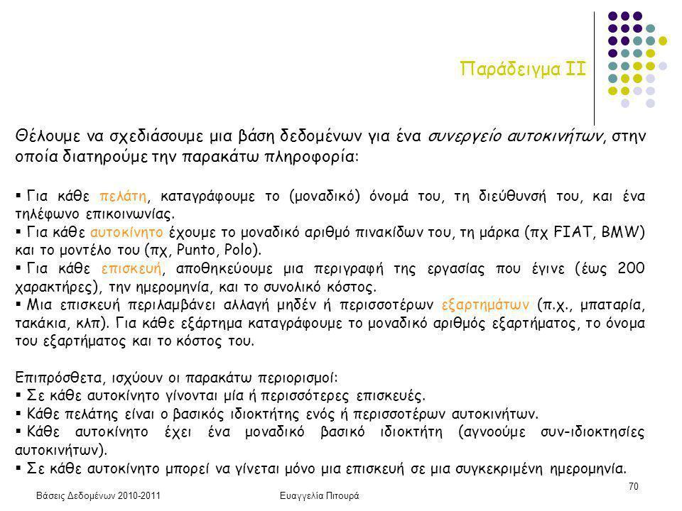 Βάσεις Δεδομένων 2010-2011Ευαγγελία Πιτουρά 70 Παράδειγμα ΙΙ Θέλουμε να σχεδιάσουμε μια βάση δεδομένων για ένα συνεργείο αυτοκινήτων, στην οποία διατηρούμε την παρακάτω πληροφορία:  Για κάθε πελάτη, καταγράφουμε το (μοναδικό) όνομά του, τη διεύθυνσή του, και ένα τηλέφωνο επικοινωνίας.