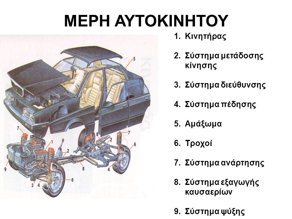 1.Κινητήρας 2.Σύστημα μετάδοσης κίνησης 3.Σύστημα διεύθυνσης 4.Σύστημα πέδησης 5.Αμάξωμα 6.Τροχοί 7.Σύστημα ανάρτησης 8.Σύστημα εξαγωγής καυσαερίων 9.