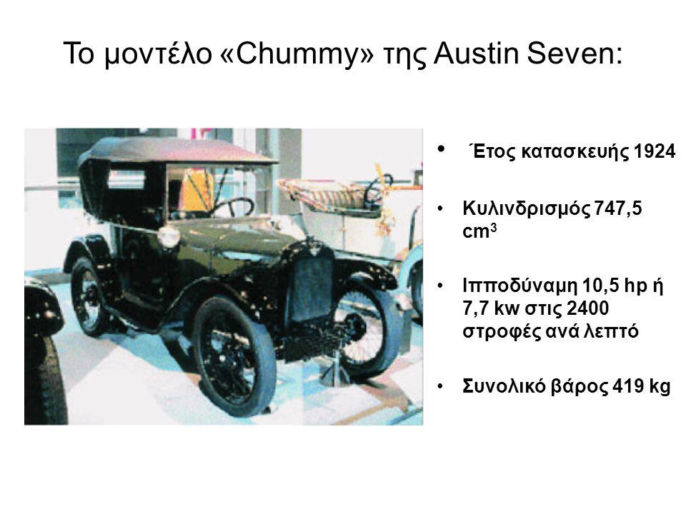 Το μοντέλο «Chummy» της Austin Seven: Έτος κατασκευής 1924 Κυλινδρισμός 747,5 cm 3 Ιπποδύναμη 10,5 hp ή 7,7 kw στις 2400 στροφές ανά λεπτό Συνολικό βά