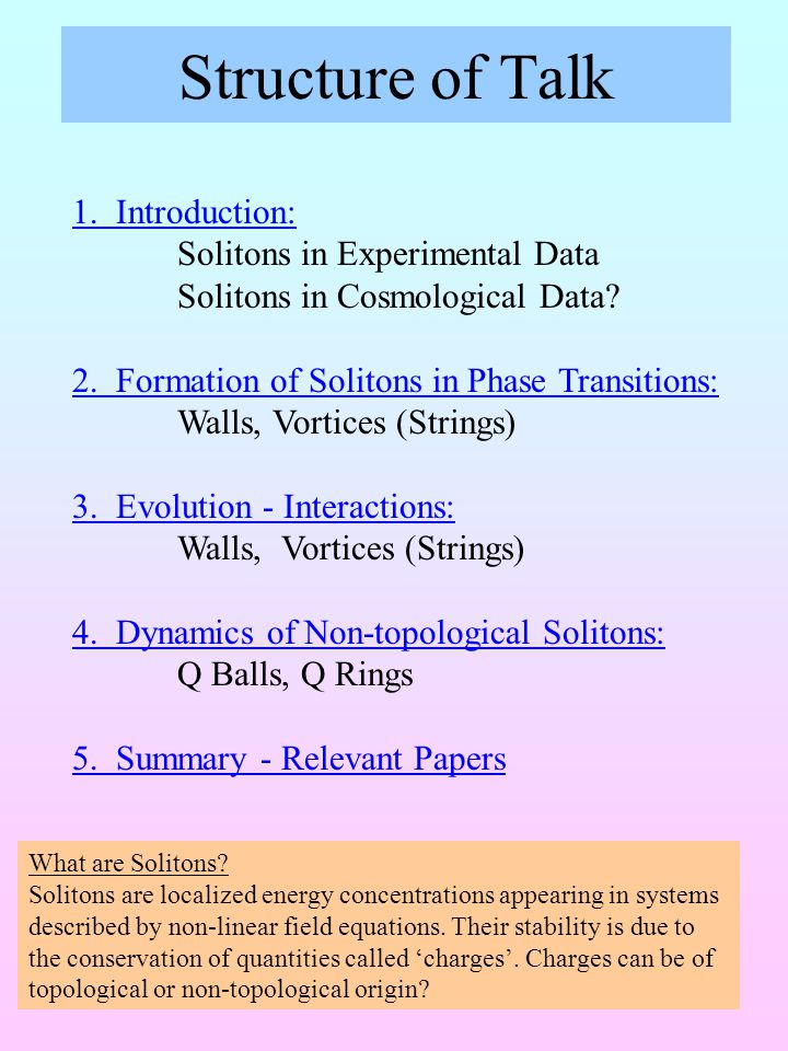 Structure of Talk 1. Introduction: Solitons in Experimental Data Solitons in Cosmological Data.