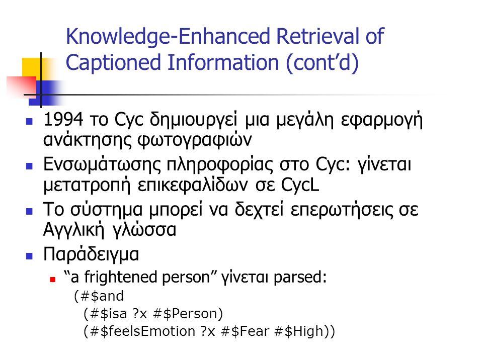 Knowledge-Enhanced Retrieval of Captioned Information (cont'd) 1994 το Cyc δημιουργεί μια μεγάλη εφαρμογή ανάκτησης φωτογραφιών Ενσωμάτωσης πληροφορίας στο Cyc: γίνεται μετατροπή επικεφαλίδων σε CycL To σύστημα μπορεί να δεχτεί επερωτήσεις σε Αγγλική γλώσσα Παράδειγμα a frightened person γίνεται parsed: (#$and (#$isa x #$Person) (#$feelsEmotion x #$Fear #$High))