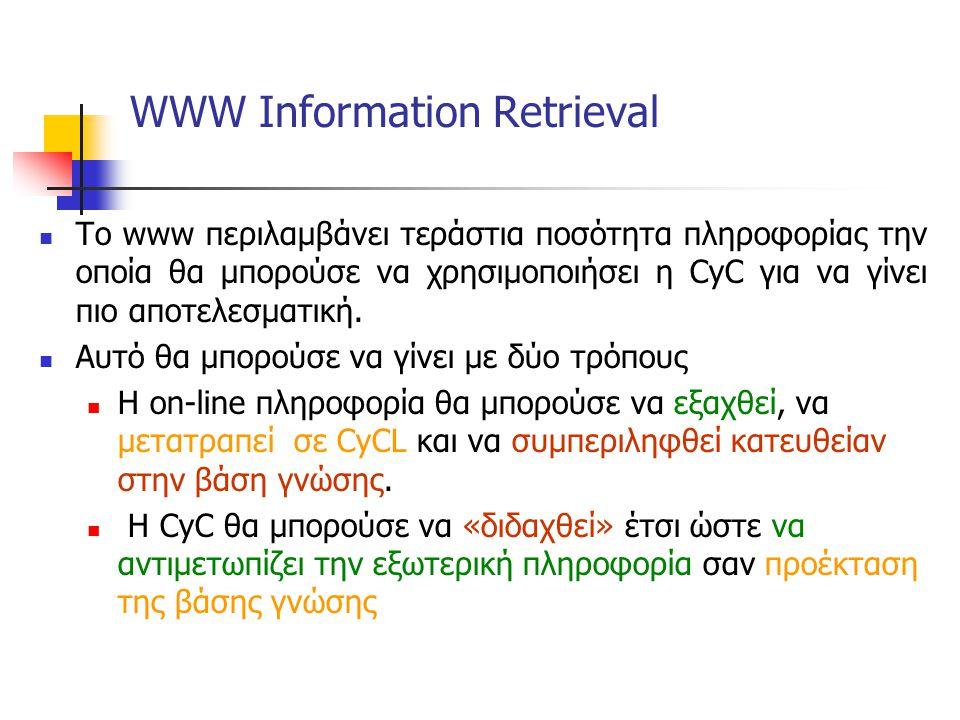 WWW Information Retrieval Το www περιλαμβάνει τεράστια ποσότητα πληροφορίας την οποία θα μπορούσε να χρησιμοποιήσει η CyC για να γίνει πιο αποτελεσματική.