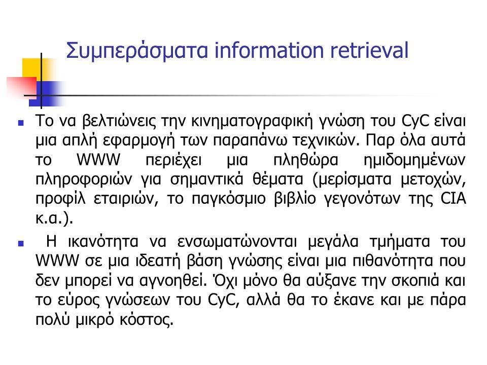 Συμπεράσματα information retrieval Το να βελτιώνεις την κινηματογραφική γνώση του CyC είναι μια απλή εφαρμογή των παραπάνω τεχνικών. Παρ όλα αυτά το W