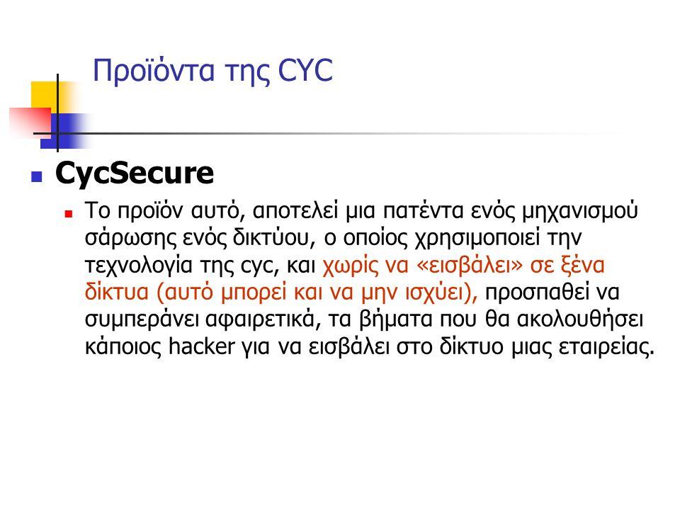 Προϊόντα της CYC CycSecure Το προϊόν αυτό, αποτελεί μια πατέντα ενός μηχανισμού σάρωσης ενός δικτύου, ο οποίος χρησιμοποιεί την τεχνολογία της cyc, κα