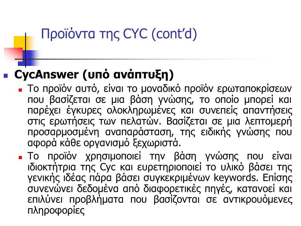 Προϊόντα της CYC (cont'd) CycAnswer (υπό ανάπτυξη) Το προϊόν αυτό, είναι το μοναδικό προϊόν ερωταποκρίσεων που βασίζεται σε μια βάση γνώσης, το οποίο