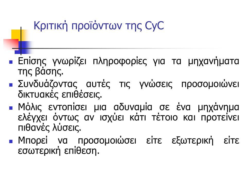Κριτική προϊόντων της CyC Επίσης γνωρίζει πληροφορίες για τα μηχανήματα της βάσης. Συνδυάζοντας αυτές τις γνώσεις προσομοιώνει δικτυακές επιθέσεις. Μό