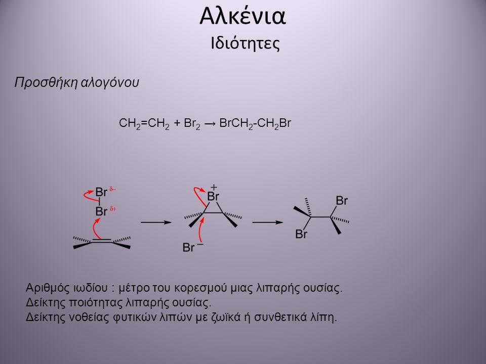 Αλκένια Ιδιότητες Προσθήκη αλογόνου CH 2 =CH 2 + Br 2 → BrCH 2 -CH 2 Br Αριθμός ιωδίου : μέτρο του κορεσμού μιας λιπαρής ουσίας. Δείκτης ποιότητας λιπ