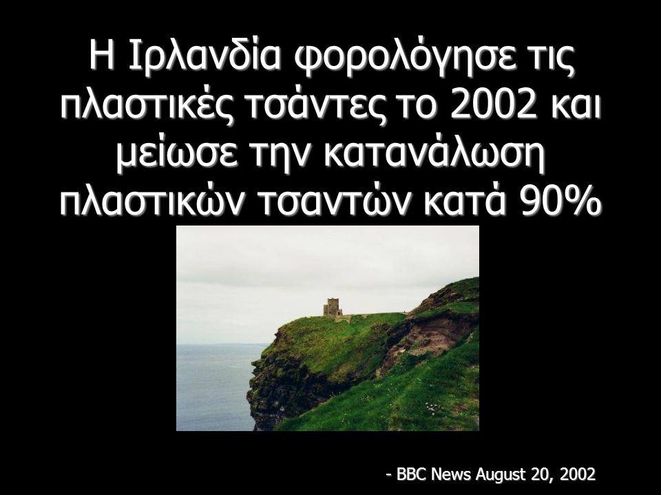 Η Ιρλανδία φορολόγησε τις πλαστικές τσάντες το 2002 και μείωσε την κατανάλωση πλαστικών τσαντών κατά 90% - BBC News August 20, 2002