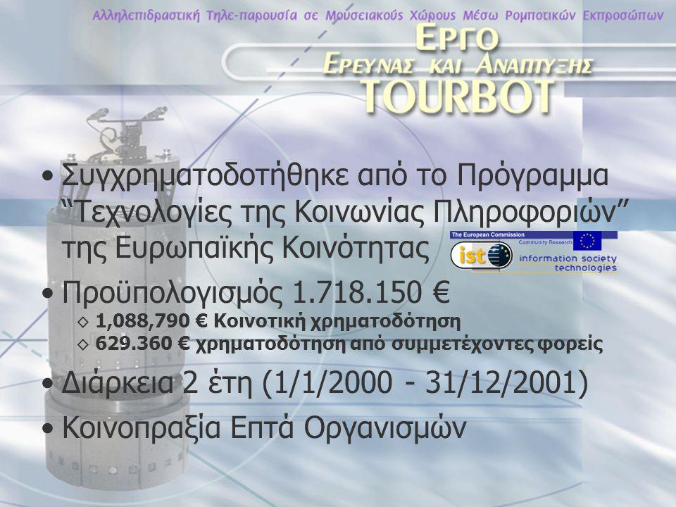 Συγχρηματοδοτήθηκε από το Πρόγραμμα Τεχνολογίες της Κοινωνίας Πληροφοριών της Ευρωπαϊκής Κοινότητας Προϋπολογισμός 1.718.150 € ◊ 1,088,790 € Κοινοτική χρηματοδότηση ◊ 629.360 € χρηματοδότηση από συμμετέχοντες φορείς Διάρκεια 2 έτη (1/1/2000 - 31/12/2001) Κοινοπραξία Επτά Οργανισμών
